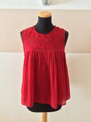 A21031104 Rote Sommer Top Bluse von Zara, Gr. M (NEU)