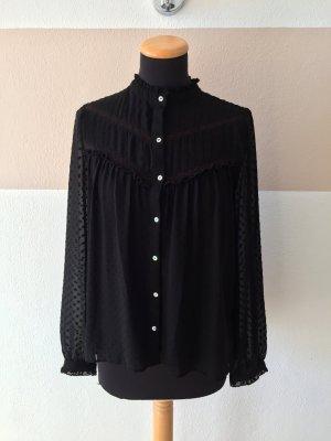 A21031202 Schwarze Punkte Bluse von Zara, Gr. XS