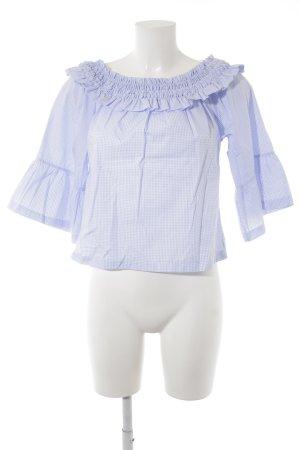 Aako Blouse Carmen blanc cassé-bleu azur motif à carreaux style mode des rues