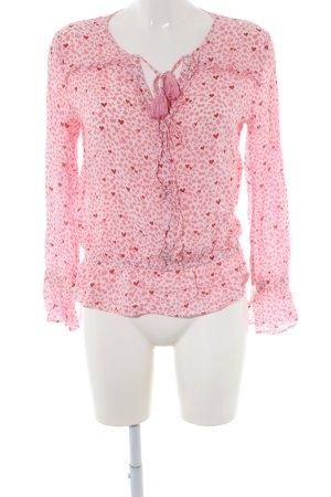 Aako Blouse à manches longues blanc-rose imprimé allover style décontracté