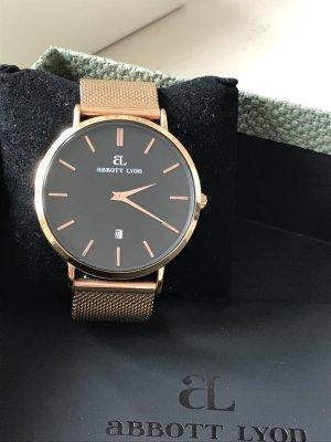 abbott lyon Horloge met metalen riempje zwart-roségoud