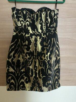 H&M Vestido bandeau negro-color oro
