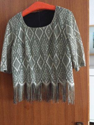 Glanzende blouse zilver Nylon