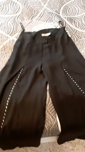 Womens Selection Pantalón palazzo negro-color plata