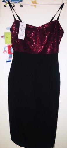 100% Fashion Suknia wieczorowa głęboka czerwień-czarny