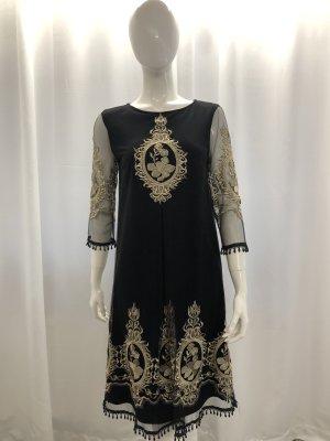 Vestido línea A negro-color oro
