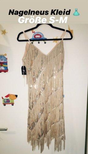 100% Fashion Suknia wieczorowa beżowy-nude