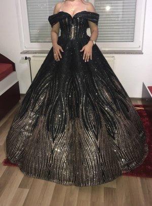 Vestido de baile negro-color oro