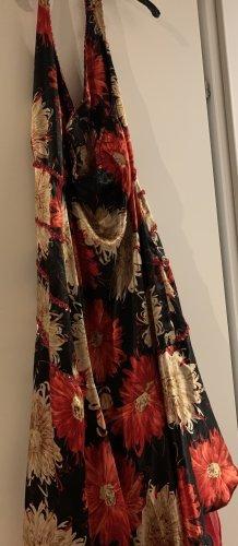 08/16 Robe de soirée rouge brique-noir soie