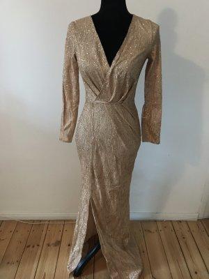 Vestido de noche color oro-color bronce