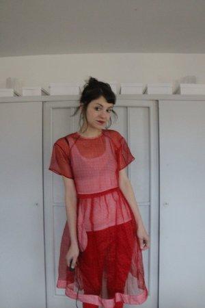 Topshop Empire Dress carmine-cream silk