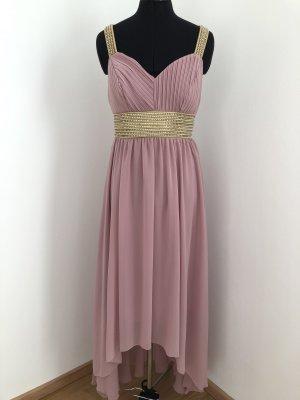 Asymetryczna sukienka w kolorze różowego złota