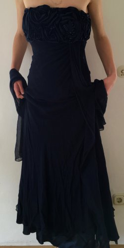 Barbara Schwarzer Evening Dress blue-dark blue silk