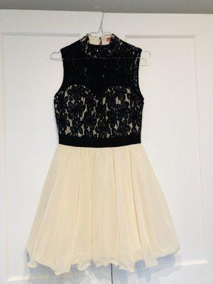 Abendkleid / Ballkleid beige/schwarz mit Tüll