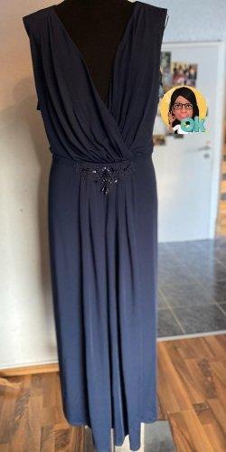 Abendkleid blau Gr. 52 lang mit Perlenbesatz von Sheego