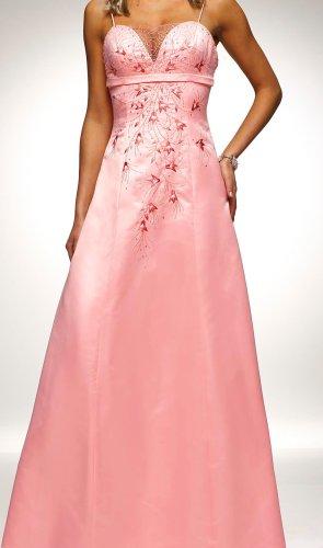 Abendkleid Brautkleid Brautjungfer Ball Satin Rosa Stickereien neuwertig