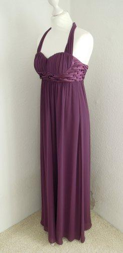Abendkleid Chiffon Kleid Chiffonkleid lila aubergine Gr. 32 34 Ziersteine Laura Scott mit Stola ungetragen