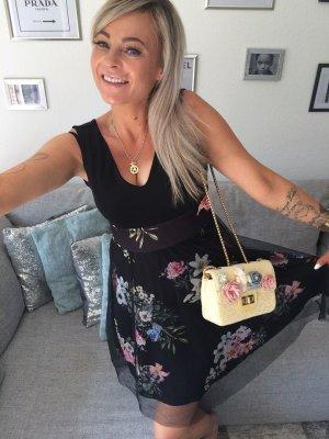 ⋙•-•-•-•➤ Abendkleid Coachella Cocktailkleid / Midikleid - knielanges Damen Kleid Blumen Flower Print Tütü Tüll Rock Reißverschluss am Rücken Trägerkleid Sale Cocktailkleid /Abendkleid Blumen Print + Tütü - Neu m. Etikett S / 36 ◉
