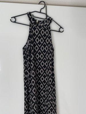 H&M Vestido con flecos blanco-negro