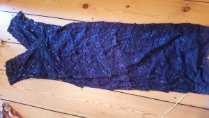 Abendkleid, dunkelblau mit Pailletten