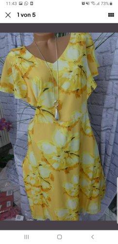 Abendkleid Gelb mit Blumenstrisch Gr. 46 von Sheego