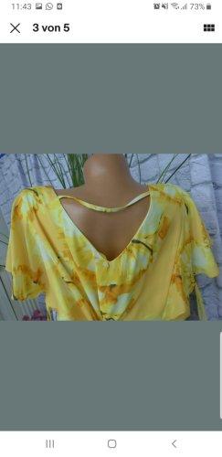 Abendkleid Gelb mit Blumenstrisch Gr. 50