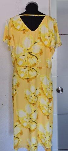 Abendkleid Gelb mit dekorativer Blumenstrisch Gr. 48 von Sheego