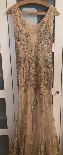 100% Fashion Suknia wieczorowa złoto-nude