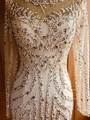 100% Fashion Suknia wieczorowa złoto-kremowy
