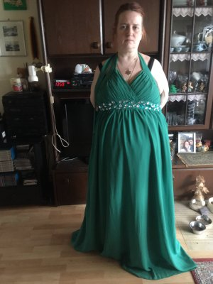 Vestido de cuello Halter verde bosque