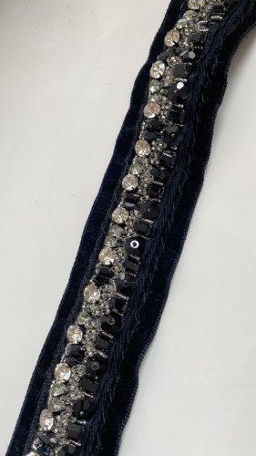 Prada Cinturón de tela negro-color plata