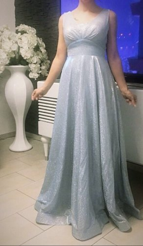 Vestido de noche azul bebé-color plata