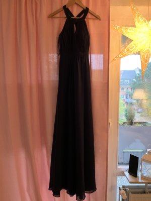 Abendkleid in dunkelblau mit tollem Rückenausschnitt