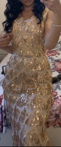 Abendkleid in Rosé-Gold/Gold   M