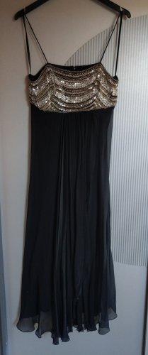 Abendkleid Kleid schwarz silber Pailletten Malvin