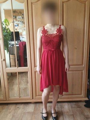 Robe bas asymétrique rouge foncé-rouge brique