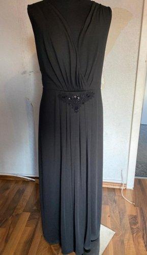 Abendkleid lang Schwarz mit Perlenbesatz Gr. 48 von Sheego