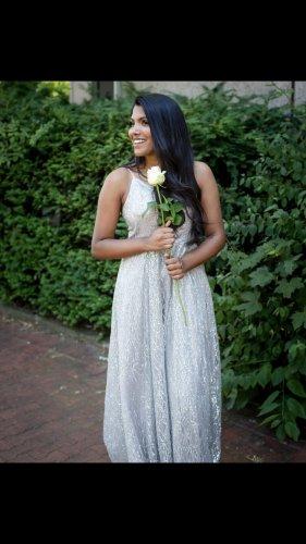 0039 Italy Vestido de noche color plata