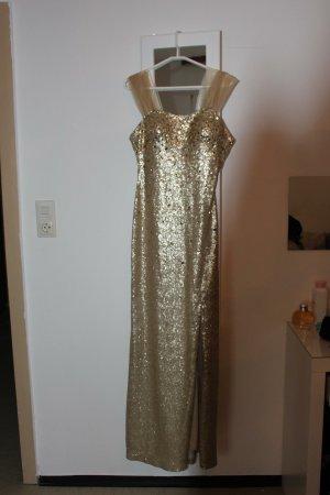 Sukienka z rękawem balonowym złoto
