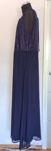 Abendkleid mit Spitzenoberteil blau lang Gr. 50