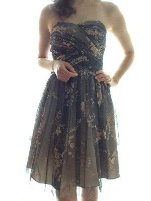 Adrianna Papell Vestido de noche gris oscuro-crema tejido mezclado
