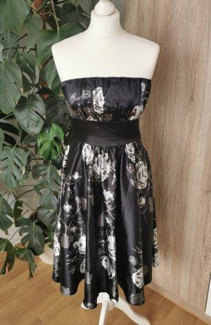 Abendkleid Satin Kleidchen Trägerlos Blumen-Muster Cocktailkleid 36-38