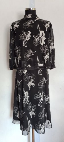 Abendkleid Schwarz mit Blumen Gr. 52 von Sheego