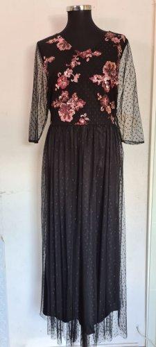 Abendkleid Schwarz mit Pailletten Gr. 46 von Sheego