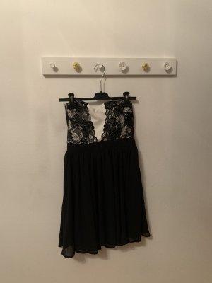 Abendkleid, schwarz- weiß, trägerlos