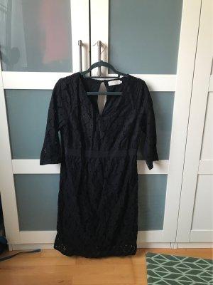 Cream Vestido de encaje negro