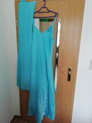 Abendkleid von Yves Calin Größe 42 türkis, Blume abnehmbar, 1 x getragen