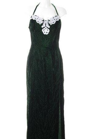Abendkleid waldgrün-weiß Boho-Look
