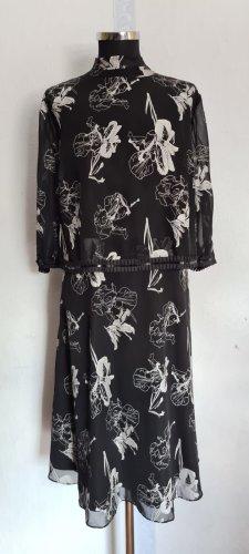 Abendkleid weiß Schwarz mit Blumen Gr. 46 von Sheego