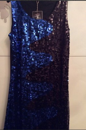 Abendkleide Pailletten Kleid Blau Party minikleid